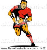 Retro Illustration of a Running Rugby Football Player by Patrimonio