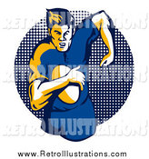 Retro Illustration of a Running Rugby Football Player over a Halftone Dot Circle by Patrimonio