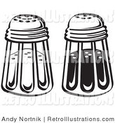 Retro Illustration of a Salt and Pepper Shakers in a Diner in Black and White by Andy Nortnik