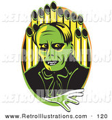 Retro Illustration of a Scary Green Phantom Standing in Front of Pipes of an Organ by Andy Nortnik