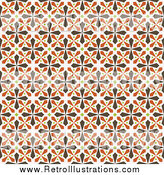 Retro Illustration of a Seamless Background of Brown, Green and Orange Kaleidoscope Crosses by BestVector