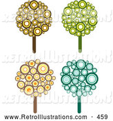 Retro Illustration of a Set of 4 Retro Styled Trees Made of Brown, Yellow, Orange, Green and Blue Circles by KJ Pargeter