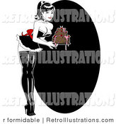 Retro Illustration of a Sexy Baker Pinup Woman Carrying a Cake with Dripping Frosting on a Black Oval Background by R Formidable