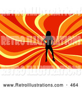 Retro Illustration of a Sexy Black Silhouetted Woman Posing over a Wavy Red, Orange and Yellow Background by KJ Pargeter