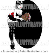 Retro Illustration of a Sexy Retro Pinup Woman Dropping a Chocolate Cake by R Formidable