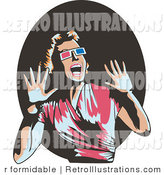 Retro Illustration of a Shocked Woman Watching a 3d Film by R Formidable
