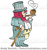 Retro Illustration of a Short, Pink Haired Leprechaun Leaning on a Cane and Smoking from a Pipe by Andy Nortnik