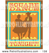 Retro Illustration of a Sign of a Silhouetted Cowboy Square Dancing with a Woman by Andy Nortnik