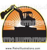 Retro Illustration of a Silhouetted Excavator and Sunset by Patrimonio