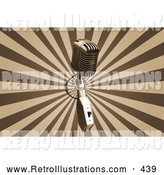 Retro Illustration of a Silver Vintage Microphone over a Bursting Brown and Tan Background by KJ Pargeter