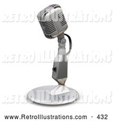 Retro Illustration of a Silver Vintage Microphone with a Little Table Top Stand, on a White Background by KJ Pargeter