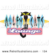 Retro Illustration of a Slender Solid Black Cat with Wide Eyes Sitting in the Center of Green, Blue and Pink Diamonds on a Vintage Alley Cats Lounge Sign by Andy Nortnik