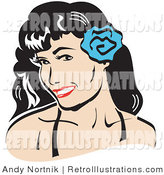 Retro Illustration of a Smiling Brunette Woman with a Blue Flower in Her Hair by Andy Nortnik