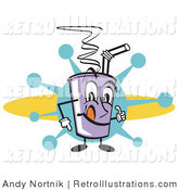 July 24th, 2012: Retro Illustration of a Smiling Purple Cup Holding Fountain Soda and a Straw by Andy Nortnik