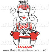 Retro Illustration of a Smiling Red Haired Housewife Wearing an Apron and Oven Gloves, Smelling Fresh, Hot Chocolate Chip Cookies Right out of the Oven by Andy Nortnik