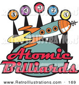 Retro Illustration of a Space Rocket Flying past Pool Balls on a Retro Atomic Billiards Sign by Andy Nortnik
