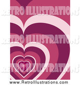 Retro Illustration of a Sparkling Pink Mosaic Heart Pattern Background by Elaineitalia
