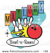 Retro Illustration of a Sporty Red Bowling Ball Crashing into Bowling Pins on a Vintage Marlows Bowl O Rama Sign by Andy Nortnik