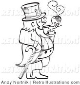 Retro Illustration of a St. Patrick's Day Leprechaun Leaning on a Cane and Smoking a Pipe in Black and White by Andy Nortnik