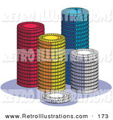 Retro Illustration of a Stacks of Red, Yellow, Blue and White Poker Chips on a Casino Table by Andy Nortnik