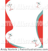 Retro Illustration of a Stationery Background with a Border of Martinis on Red, Blue, and White by Andy Nortnik