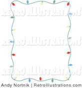 Retro Illustration of a Stationery Frame of Small Colorful Christmas Lights Bordering a White Background by Andy Nortnik