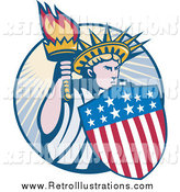 Retro Illustration of a Statue of Liberty with an American Shield and Torch Logo by Patrimonio