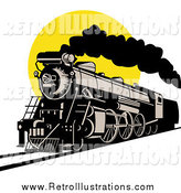Retro Illustration of a Steam Engine Train Against a Yellow Sun by Patrimonio
