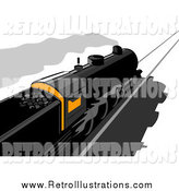 Retro Illustration of a Steam Engine Train with a Glowing Box by Patrimonio