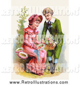 July 20th, 2015: Retro Illustration of a Sweet Young White Boy Giving a Girl a Basket of Flowers for Her to Make Wreaths With, Circa 1886 by OldPixels