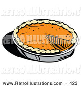 Retro Illustration of a Tasty and Fresh Thanksgiving Pumpkin Pie in a Pan, Missing One Slice by Andy Nortnik