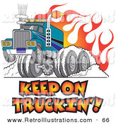 Retro Illustration of a Tough Big Rig Hot Rod Truck Flaming and Smoking Its Rear Tires Doing a Burnout in Flames and a Wheelie on White by Andy Nortnik