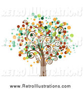 Retro Illustration of a Tree with Dot Foliage by BNP Design Studio