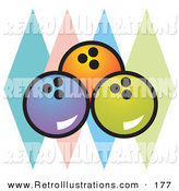 Retro Illustration of a Trio of Blue, Orange and Green Bowling Balls over Colorful Diamonds by Andy Nortnik