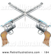 Retro Illustration of a Two Shiny Pistols Forming a Cross over a White Background by Andy Nortnik