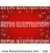Retro Illustration of a Varied Gradient Red Background with Red and White Retro Snowflakes by KJ Pargeter