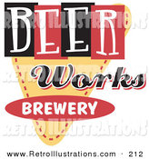 Retro Illustration of a Vintage Beer Works Brewery Advertisement on White by Andy Nortnik