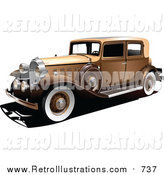 Retro Illustration of a Vintage Gold Car by