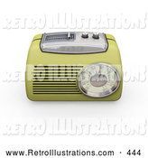 Retro Illustration of a Vintage Greenish Yellow Radio with a Station Tuner, on a White Background by KJ Pargeter