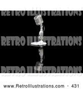 Retro Illustration of a Vintage Old Fashioned Microphone on a Table Top Stand on a Reflective Black Surface by KJ Pargeter