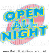 Retro Illustration of a Vintage Open All Night Neon Sign on White by Andy Nortnik