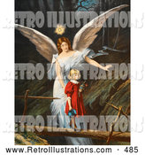 Retro Illustration of a Vintage Painting of a Female Guardian Angel Guiding a Little Girl in a Red Dress Across a Dangerous Log Bridge over a Gorge, Circa 1890 by OldPixels