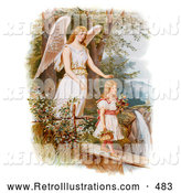 Retro Illustration of a Vintage Painting of a Female Guardian Angel Looking over a Little Girl As She Carries Flowers and a Basket Across a Log over a Cliff and River, Circa 1890 by OldPixels