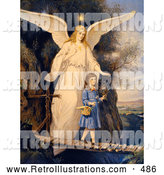 Retro Illustration of a Vintage Painting of a Female Guardian Angel Protecting a Little Girl As She Crosses a Gorge on a Narrow Bridge, Carrying a Basket and Flowers, Circa 1890 by OldPixels
