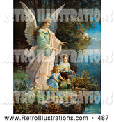 Retro Illustration of a Vintage Painting of a Guardian Angel Watching over Children near a Tall Cliff, Circa 1890 by OldPixels