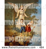 Retro Illustration of a Vintage Painting of a Guardian Angel Watching over Children Teetering on a Tall Cliff, Circa 1890 by OldPixels