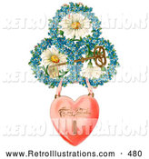 Retro Illustration of a Vintage Painting of a Heart Locket Suspended from Rings of Blue Flowers Around White Daisies with a Gold Skeleton Key Circa 1890 by OldPixels