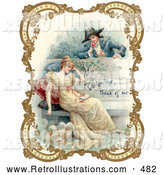 Retro Illustration of a Vintage Painting of a Man Holding a Flower and Looking over a Patio Wall, Admiring a Young Lady, Bordered by Golden Flowers, Circa 18th Century by OldPixels