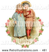 Retro Illustration of a Vintage Painting of a Sweet Little Boy and Girl Strolling Arm in Arm, Looking off to the Side, Circled by a Heart of Pink Roses Circa 1886 by OldPixels