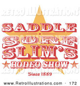 Retro Illustration of a Vintage Red and Yellow and White Rodeo Sign with a Star by Andy Nortnik